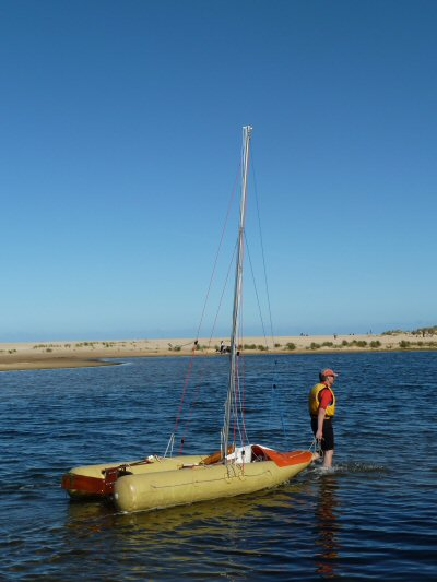Inflatable Sailing Boat at Lake Tyers Beach