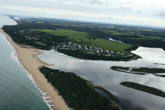 Arial view of Lake Tyers Beach, Estuary closed