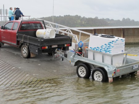 Transport system for the tank of Estuary Perch at Lake Tyers Beach