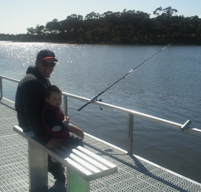 Father and Son fishing at Fishermans Landing Lake Tyers Beach