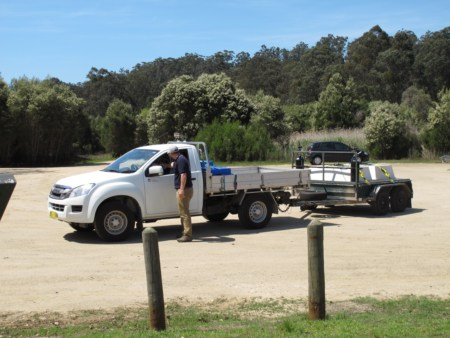 Car and trailer carrying Mulloway fingerlings to Lake Tyers