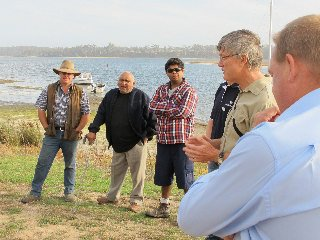 Prof Iain Suthers explaining the project at Lake Tyers Beach