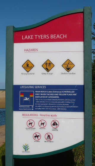Swimming Sign www.laketyersbeach.net.au