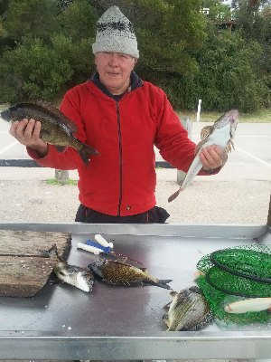Johnny Jol with a wintery morning's catch  at Lake Tyers Beach