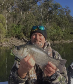 Neil Simpson takes a bloody good catch at Lake Tyers Beach.